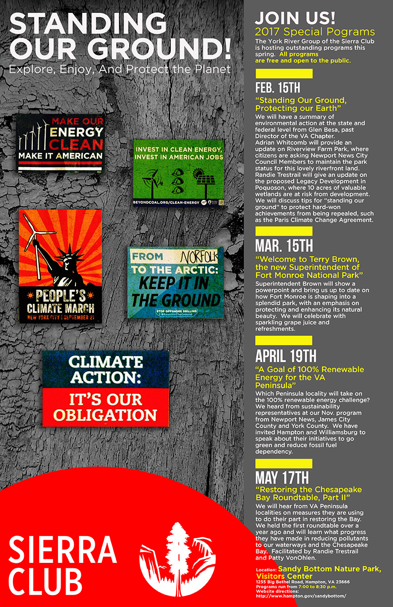Sierra Club Poster of Upcoming Events