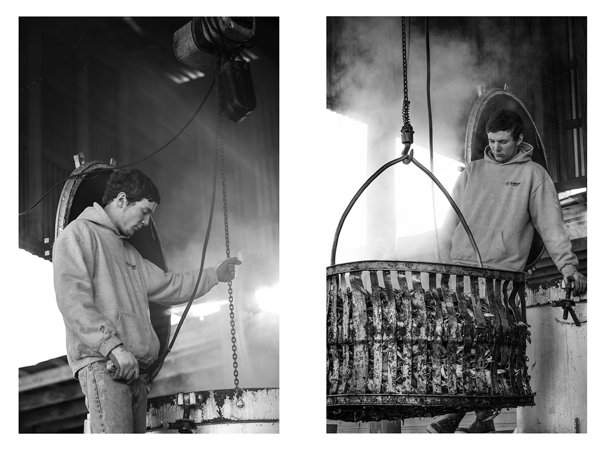 Image of young man getting crab pot out of crab steamer