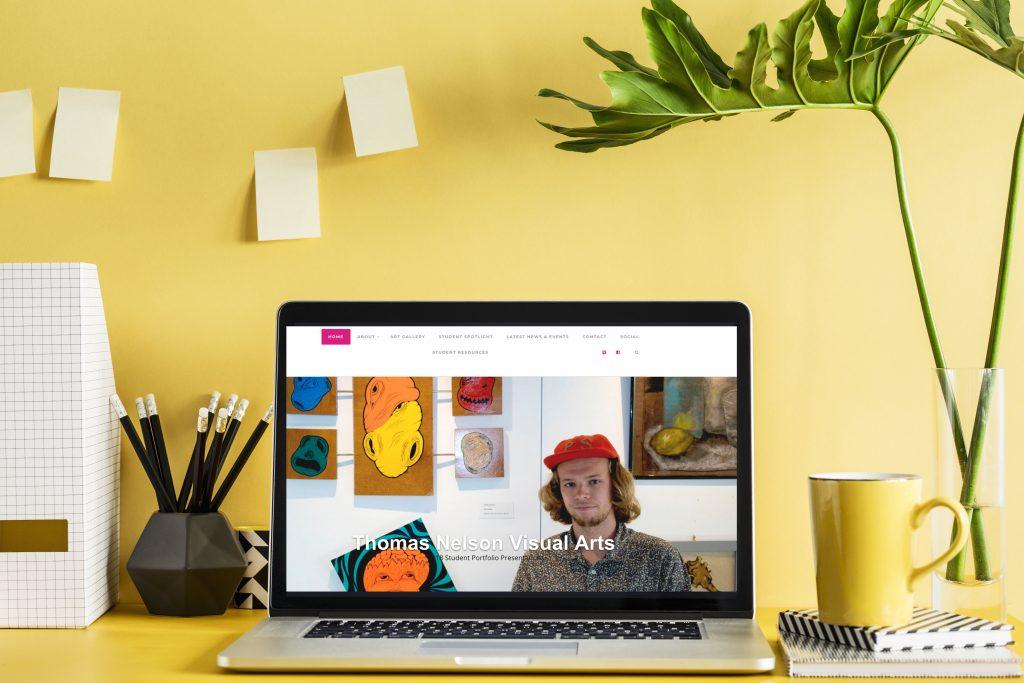 Visual Arts Website on Laptop