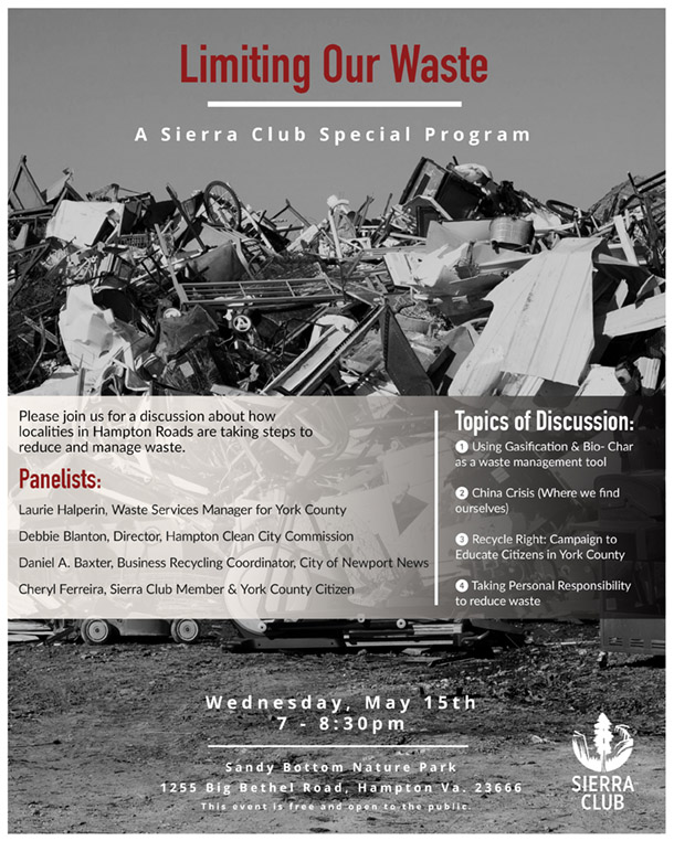 A flyer with landfill images for a waste program